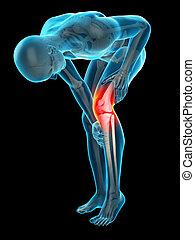 痛苦, 在, the, 膝蓋