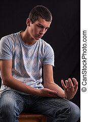 痛苦, 概念, 青少年, 藏品, 他的, 手
