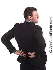 痛苦, 被隔离, 年輕, formalwear, 背, back., 當時, 扣留手, 白色, 看法, 培養, 人