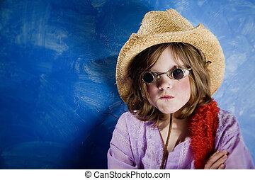 瘋狂, 女孩, 在, a, 帽子, 以及, 眼鏡