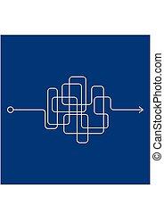 瘋狂, 混亂, clew, 雜亂, 彎曲, 藍色, 背景。, quest., 解決, 複雜, 過程, 線, 方式, 白色, 困難, 插圖, 複雜, 雜文, 矢量, 處於混亂狀態, way., 問題, 或者, 路徑