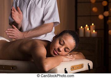 療法, 女, 痛み, 背中