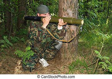 発射装置, 若い, カモフラージュ, 撃つ, 手榴弾, 人