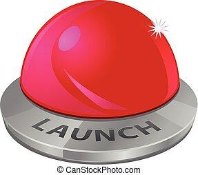 発射, ボタン, ベクトル, 赤, アイコン