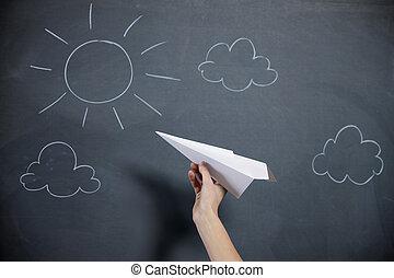 発射, 黒板, backgroud, 空, 手, 飛行機。, ペーパー, 女性, 太陽, 準備する