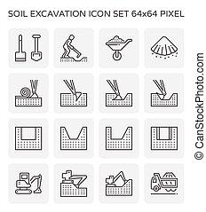 発掘, 土壌, アイコン
