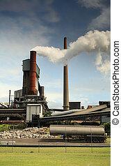 発煙, smelter, 鋼鉄, emiting, 製粉所, 有毒, 活動的, billowing