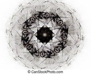 発生する コンピュータ, フラクタル, アートワーク, ∥ために∥, 創造的, デザイン, 芸術, そして, entertainment., 背景, ∥で∥, 回転, spheres.