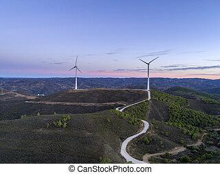 発生, シルエット, windmills., 力, 農場, エネルギー, countryside., タービン, パノラマである, algarve, 風, きれいにしなさい, 航空写真, 回復可能, sunset.
