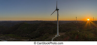 発生, シルエット, windmills., 力, 農場, エネルギー, countryside., タービン, algarve, 風, きれいにしなさい, 航空写真, 回復可能, sunset.
