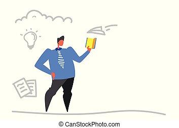 発生, 概念, ビジネス, いたずら書き, 考え, 創造的, 本, 読書, スケッチ, ビジネスマン, 新しい, 横, 教育, インスピレーシヨン
