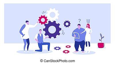 発生, 概念, ビジネス, はめば歯車, 処理, 同僚, メカニズム, プロジェクト, 長さ, フルである, 制御, スケッチ, チーム, ブレーンストーミング, businesspople, 新しい, 横