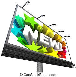 発表, プロダクト, 単語, 花火, 広告板, 新しい