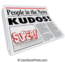 発表, 人々, 称賛, 新聞, ニュース, メッセージ, 極度