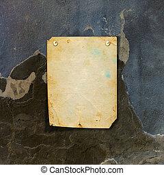 発表, 石, 古い, ぼろぼろ, 壁, 金属, ボタン