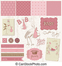 発表, 要素, 型, -, デザイン, 赤ん坊, スクラップブック, 女の子