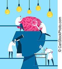 発見しなさい, innovation., mind., 探索, 発見, 脳, illustration., 創造性, 考え, 知性, 科学者, ベクトル, 人間