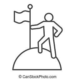 発見者, 人, graphics., チームワーク, 人, バックグラウンド。, 概念, 勝利, シンボル, スタイル, モビール, 上, 線, 旗, ベクトル, 山, 薄くなりなさい, 印, pictogram, 網, アウトライン, design., icon., 白