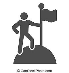 発見者, 人, graphics., 固体, チームワーク, 人, glyph, バックグラウンド。, 概念, 勝利, シンボル, スタイル, モビール, 上, 旗, ベクトル, 山, 印, pictogram, 網, design., icon., 白