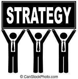 発言, ビジネス男性たち, の上, 印, 保有物, 作戦