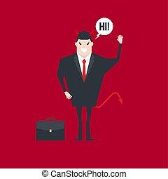 発言, 悪魔, bubble., 特徴, やあ、こんにちは, スピーチ, ビジネスマン