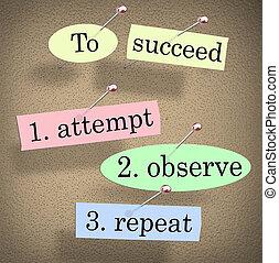 発言, 繰り返し, 試み, 成功しなさい, 引用, 観察しなさい, 板, ブレティン