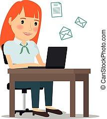発送, ラップトップ, 女, コンピュータ, 電子メール