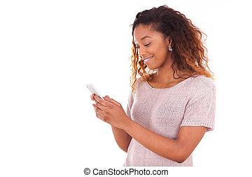 発送, 女, 彼女, テキスト, 若い, アメリカ人, アフリカ, メッセージ, 痛みなさい