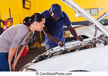 発送, 女, 彼女, 修理, 自動車, 若い