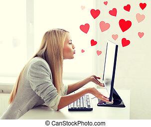 発送, 女, 接吻, モニター, コンピュータ
