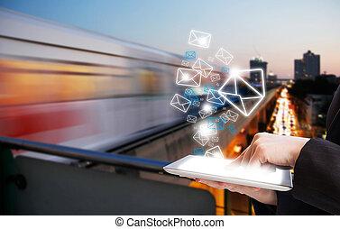 発送, 女, 電子メール, ビジネス, マーケティング