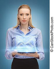 発送, 女, pc, タブレット, 電子メール