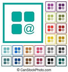 発送, 平ら, 色, アイコン, コンポーネント, 象限, フレーム, 電子メール