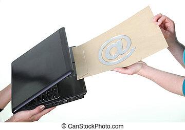 発送, 概念, 例証すること, 電子メール, 打撃