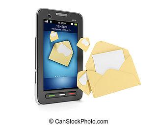 発送, 概念, illustration:, モビール, sms, メッセージ, 電話, tehnoogii., ...