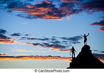 登山家, 上に, ∥, summit.