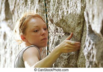 登山家, 女性, 岩