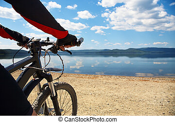 登山車, 湖, 人