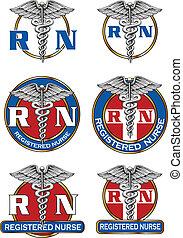 登録された, デザイン, 看護婦