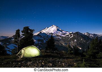 發光, 帳篷, 夜間, 在下面, 建立, 麵包師, 華盛頓州
