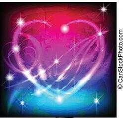 發光, 情人節, 心, 在, 魔術, 背景