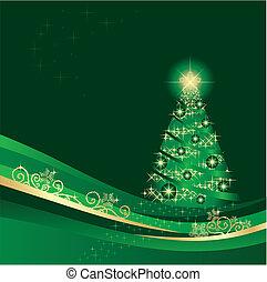 發光, 樹冬天, 花園, 聖誕節