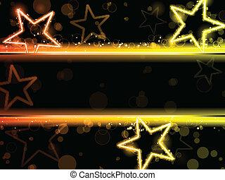 發光, 氖, 星, 背景
