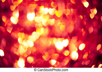 發光, 紅色, 心, 背景