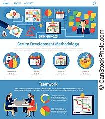 發展, 敏捷, 混亂的人群, 設計, 网頁