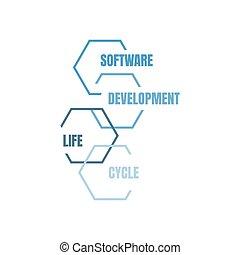 發展, 週期, 插圖, 矢量, 生活, 軟件