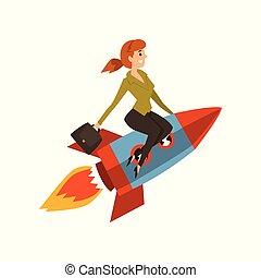 發展, 項目, 事務, 開始, 過程, 從事工商業的女性, 火箭, 向上, 插圖, 成功, 矢量, 背景, 白色
