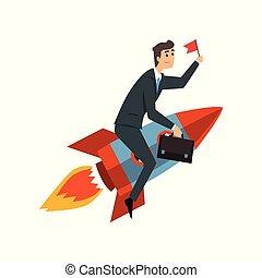 發展, 項目, 事務, 開始, 過程, 火箭, 向上, 插圖, 成功, 旗, 矢量, 背景, 商人, 騎馬, 白色