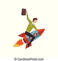 發展, 項目, 事務, 開始, 過程, 火箭, 向上, 插圖, 成功, 矢量, 背景, 商人, 白色