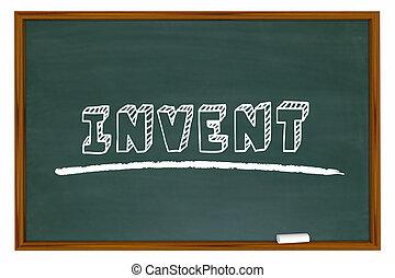 發明, 黑板, 詞, 學習, 發明, 學校, 教育, 3d, 插圖